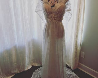 Under construction! Size 8 wedding gown made with reclaimed lace  built on size 34-c vintage corset