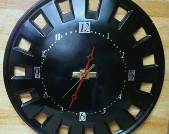 Chevy Hubcap Wall Clock - Garage -Man Cave - Re-purposed