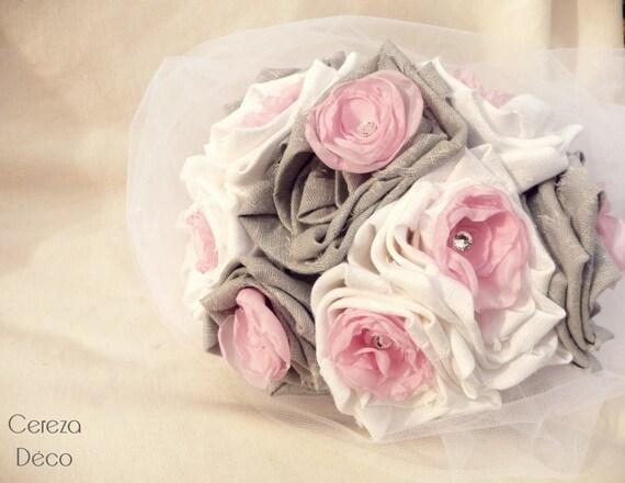 Mariage gris rose blanc strass bouquet de mari e - Strass pour bouquet de mariee ...