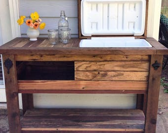 Reclaimed Barnwood Bar Cart, Cooler Cabinet, Wine Bar, Console Table,  Indoor Or