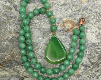 Green Aventurine and Agate Gemstone Necklace - Beaded Necklace, Large Focal Bead, Brown Stone Necklace, Gemstone Necklace, Natural Stone