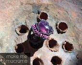 Amethyst Macrame ring, black, purple, Bohemian fashion, boho ring, gift for her, Lifetime guarantee, Free Worldwide Shipping