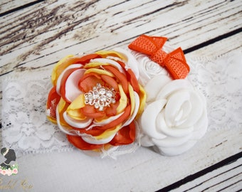 Handcrafted Candy Corn Headband - Halloween Headband - Couture Headpiece - Toddler Candy Corn Costume Accessory - Yellow Orange White Bow