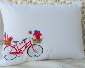 Bike Pillow cover - Embroidered bicycle pillow - seasonal bike pillow covers - embroidered pillows - Accent pillows - bike pillows