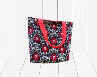 Eco Friendly Reusable Shopping Bag Reversible Tote Bag Black, White and Red Damask with Red Lining & Straps