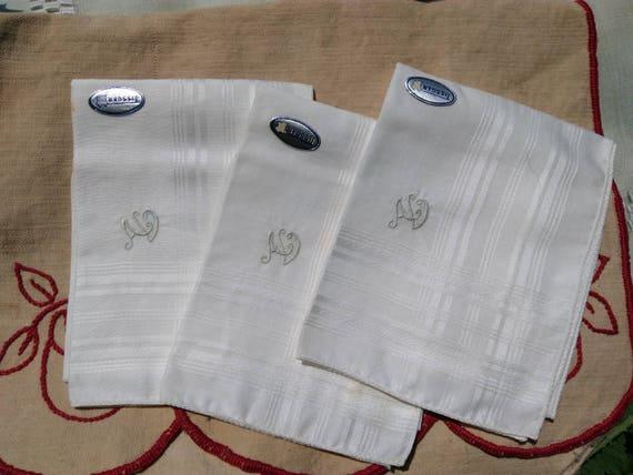 3 Unused Mid-century Tissgar Tag Handkerchiefs Monogrammed French Tissue Pocket Square Unisex #sophieladydeparis