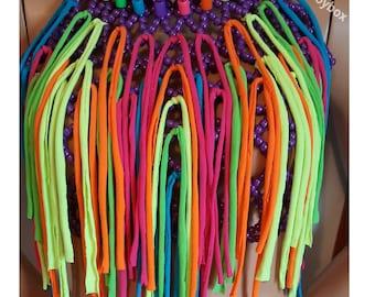 Neon rainbow fringe kandi halter, rave costume, rave outfit
