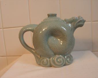 Vintage Jadeite Color Pale Aqua Chinese Horned Dragon Tea Pot made in China Tag 1960's Kitchen Collectible