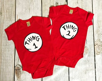 Dr. Seuss Thing 1 Thing 2 Matching Onesie Set | Shirt Set | Toddler Tee | Friends Matching Set | Twin Matching Set | Twins Bodysuits