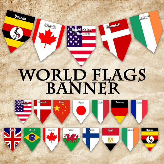 Clever image within flags of the world printable pdf