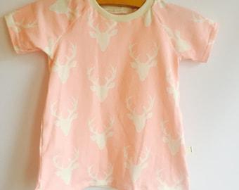 Organic handmade pink stags t shirt dress age 6-9 months