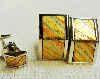 Cuff Links and Tie Tack Striped Orange Gold Rectangles