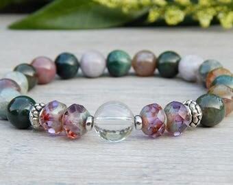 Jasper Gemstone Bracelet, Beaded Stretch Bracelet, Fancy Jasper Bracelet, Yoga Bracelet, for women, Meditation Bracelet, Beaded Bracelet