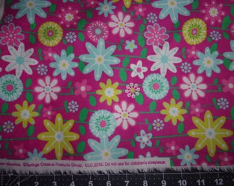 Flannel Fabric, Bright Bold Floral Print on Pink Background, 100% Cotton,...Quilts, Rag Quilts, Clothing, Crafts