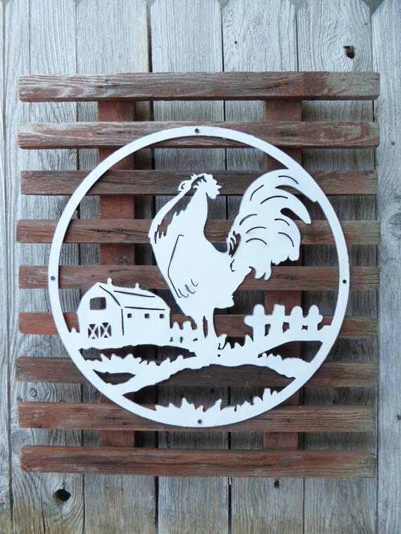 ROOSTER FARM Sign ~ Reclaimed Weathered Wood & Metal Wall Hanging  ~ Rustic Distressed Urban Farmhouse Fixer Upper Home Decor