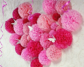 33x Pink Shades Tissue Paper Pom Poms Girl's Birthday Party Baby Shower Sweets Bar Backdrops Valentine's Day Bridal Shower Decoration