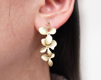 Gold Trio Orchid Invisible Clip On Earrings, Clip On Earrings, Non pierced Earrings