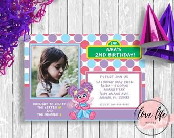 Abby Cadabby Birthday Invitation | Sesame Street Birthday Invitation | Kids Birthday Invitation | Girls Birthday Party | Abby Party