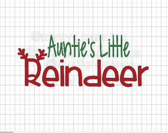 Auntie's Little Reindeer SVG - Reindeer Antlers - Rudolph Nose - Cutting File - Cute Font - Cricut - Cameo