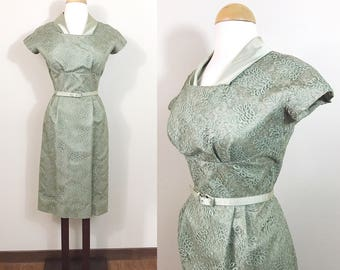 Vintage 1950s Dress / Lace / Green / Satin trim / Henry Lee