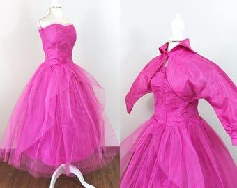 Vintage 1950s Dress / Prom dress / Pink / Tulle / Matching bolero