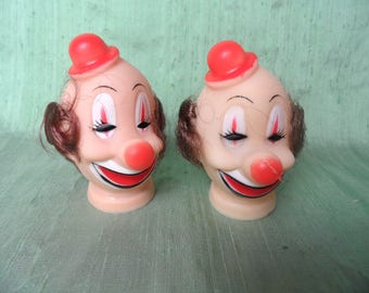 2 rubber clown heads with hair / pair of vintage soft vinyl clown doll head