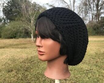 Black Slouchy Beret Crochet Hat - Handmade crochet hat - Tam