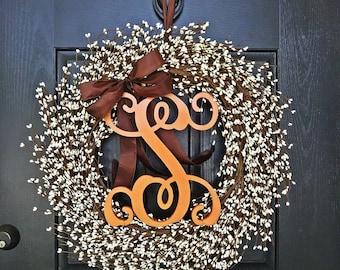 Fall Pip Berry Wreath, Fall Front Door, Fall Monogram Wreath, Autumn Wreath, Thanksgiving Wreath, Halloween Wreath, Orange Wreath