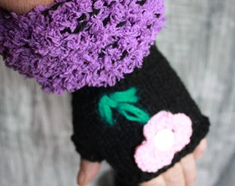 Black fingerless gloves with purple wrist size 7/8