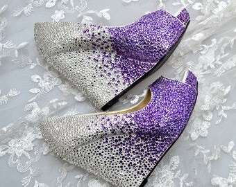 Custom Cadbury Purple Ombre and Silver swarovski crystal wedding bridal high Heel Peeptoe platform Wedge
