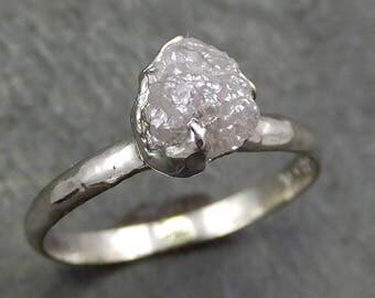 Rough Diamond Engagement Ring Raw 14k White Gold Ring Wedding Diamond Solitaire Rough Diamond Ring byAngeline 0656