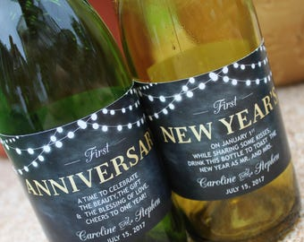 Wedding Milestones Wine Labels, Year of Firsts, Newlywed Gift, Wedding Gift, Wedding Shower, Rustic, Gold, Chalkboard