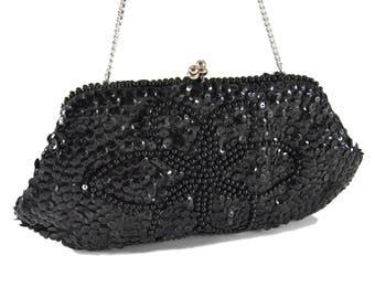 Black Beaded Purse Sequined Evening Bag Made In Japan Vintage Evening Bag Formal Handbag Kiss Lock Bag Silver Chain Black Evening Bag