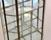 "Vintage glass brass mirror curio elongated hexagon 5 assorted cubicles lock 10""H"