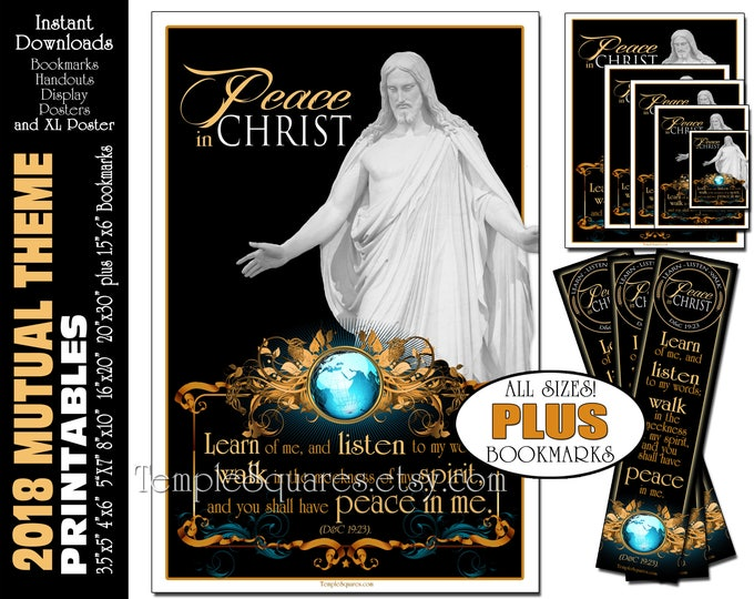 2018 Mutual Theme LDS YW Peace in Christ Peace in me D&C 19:23 Printable Posters Handouts Bookmarks Instant Download Digital Collage