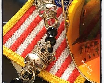 Sterling Silver Skull Bracelet Sterling Silver Crown Bracelet Skull Crown Bracelet King Skull Bracelet Lava Crown Beaded King Skull Bracelet