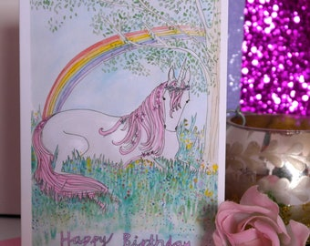 Happy Birthday Unicorn, Hand Illustrated Greetings Card , Unicorn Card, Birthday Card, Illustrated Unicorn, Unicorn and Rainbow Card
