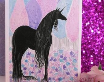 The Black Unicorn , Hand Illustrated Greetings Card , Unicorn Card, Black Unicorn Card, Illustrated Unicorn, Hand Illustrated Unicorn card