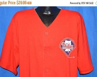 ON SALE 90s Philadelphia Phillies Button Front Jersey Red Vintage t-shirt Large