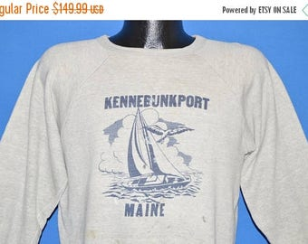 ON SALE 50s Kennebunkport Maine Sailboat Sweatshirt Large