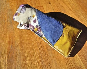 030 case glasses quilted fabric purple blue mustard flowers