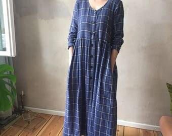 TARTAN blue light wool full lenght dress grunge