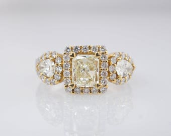 2.49CTW Fancy Yellow Radiant Cut & Pear Shape Diamond 3 Stone Engagement Ring 18k White Gold Square Halo Ring Yellow Gold White Gold