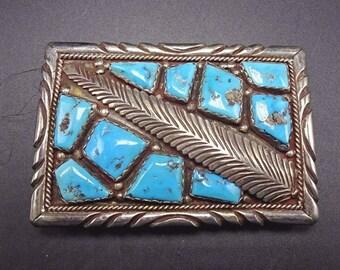Signed Vintage Navajo Sterling Silver & Old KINGMAN TURQUOISE BELT Buckle