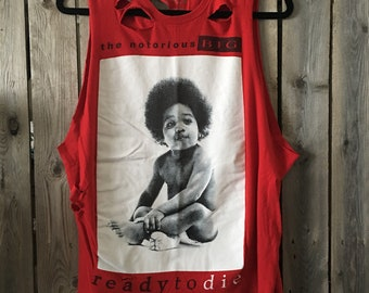 NOTORIOUS BIG  Large band tank, distressed t, distressed, vintage tee