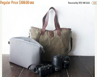 SUMMER SALES Dslr Camera bag with Insert - waxed canvas tote bag - Hand waxed with genuine leather reinforcements