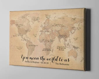 SALE 50% Off Canvas Guest Book, Rustic World Map Guest Book, Travel Themed Signatures Book, Destination Wedding GuestBook Ideas - CGB127