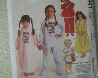 McCall 8941 Easy Girls Size 10-12 nightgown, pajamas