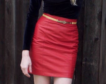 KB 100% Leather Red Mini Skirt