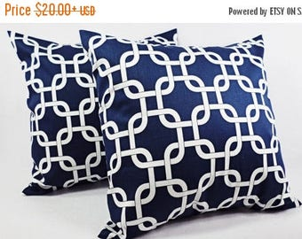 15% OFF SALE Two Blue Chainlink Decorative Throw Pillow Covers in Blue and White - 12x16 12x18 14x14 16x16 18x18 20x20 22x22 24x24 26x26 Pil